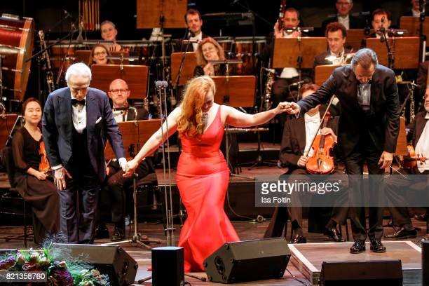 Soprano singer Elene Stikhina tenor Jose Carreras and conductor David Gemenez perfom on stage during the Thurn Taxis Castle Festival 2017 on July 23...