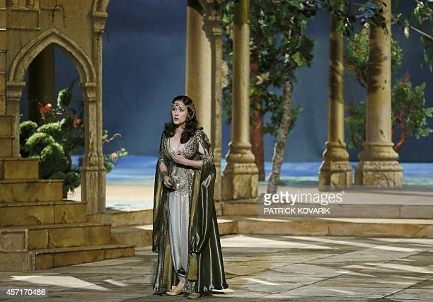 US soprano singer Erin Morley performs on the stage of the Opera Garnier in Paris during the rehearsale of Mozart's opera 'The Abduction from the...
