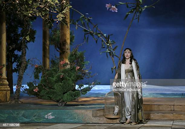 US soprano singer Erin Morley playing Konstanze performs on the stage of the Opera Garnier in Paris during the rehearsale of Mozart's opera 'The...