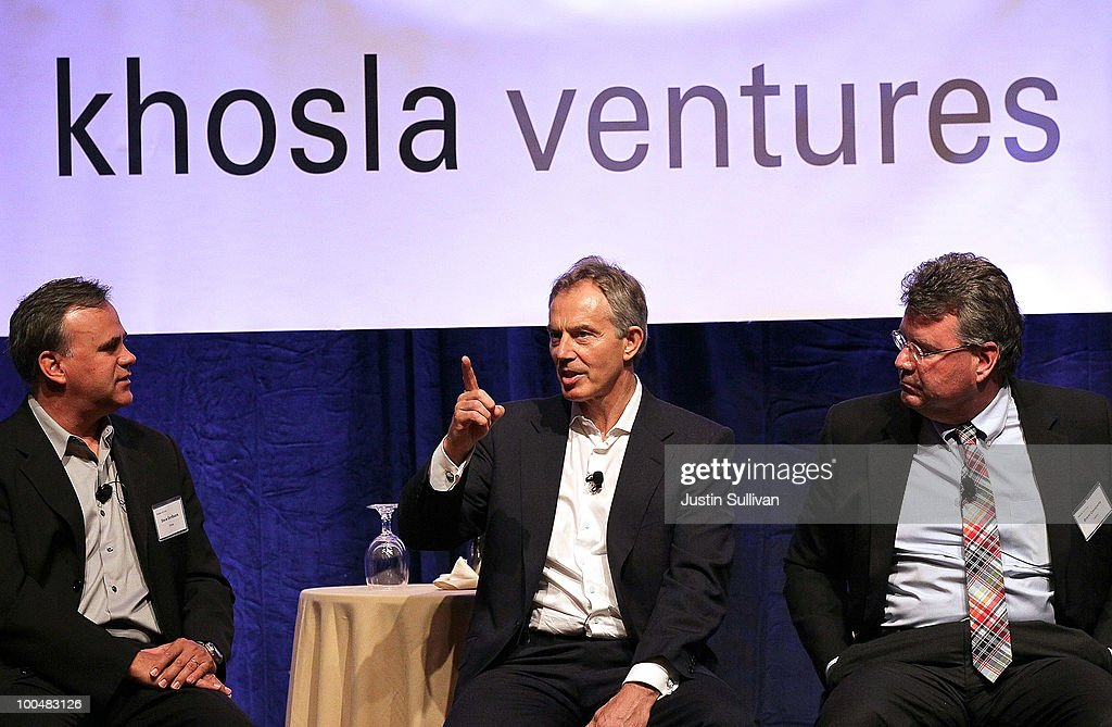 Soraa co-founder Steve DenBaars (L) and Calera CEO Brent Constantz (R) look on as former British Prime Minister <a gi-track='captionPersonalityLinkClicked' href=/galleries/search?phrase=Tony+Blair&family=editorial&specificpeople=118622 ng-click='$event.stopPropagation()'>Tony Blair</a> speaks during the Khosla Ventures Cleantech Discussion May 24, 2010 in Sausalito, California. Khosla Ventures founder Vinod Khosla announced today that <a gi-track='captionPersonalityLinkClicked' href=/galleries/search?phrase=Tony+Blair&family=editorial&specificpeople=118622 ng-click='$event.stopPropagation()'>Tony Blair</a> Associates will serve as special advisors to Khosla Ventures to advocate for environmental issues and use their global relationships to assist Khosla's broad portfolio of clean technology companies maximize their effectiveness in achieving their environmental goals.