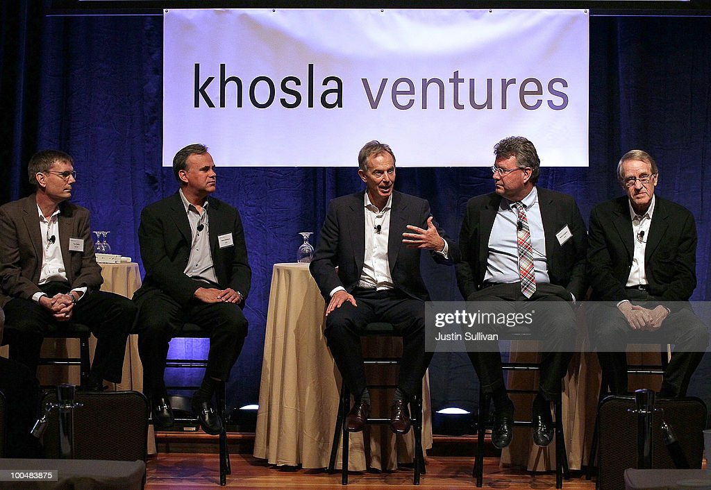 Soraa co-founder Steve DenBaars (2L), Calera CEO Brent Constantz (2R), and EcoMotors CEO Don Runkle (R) look on as former British Prime Minister Tony Blair (C) speaks during the Khosla Ventures Cleantech Discussion May 24, 2010 in Sausalito, California. Khosla Ventures founder Vinod Khosla announced today that Tony Blair Associates will serve as special advisors to Khosla Ventures to advocate for environmental issues and use their global relationships to assist Khosla's broad portfolio of clean technology companies maximize their effectiveness in achieving their environmental goals.