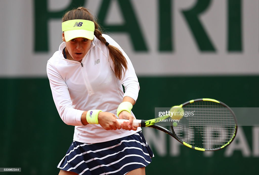Sorana Cirestea of Romania plays a backhand during the Women's Singles first round match against Elina Svitolina of Ukraine on day three of the 2016 French Open at Roland Garros on May 24, 2016 in Paris, France.