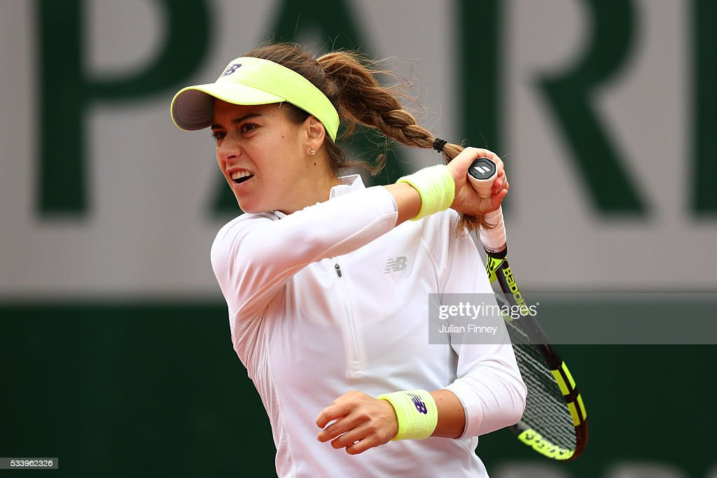 Sorana Cirestea of Romania plays a forehand during the Women's Singles first round match against Elina Svitolina of Ukraine on day three of the 2016 French Open at Roland Garros on May 24, 2016 in Paris, France.