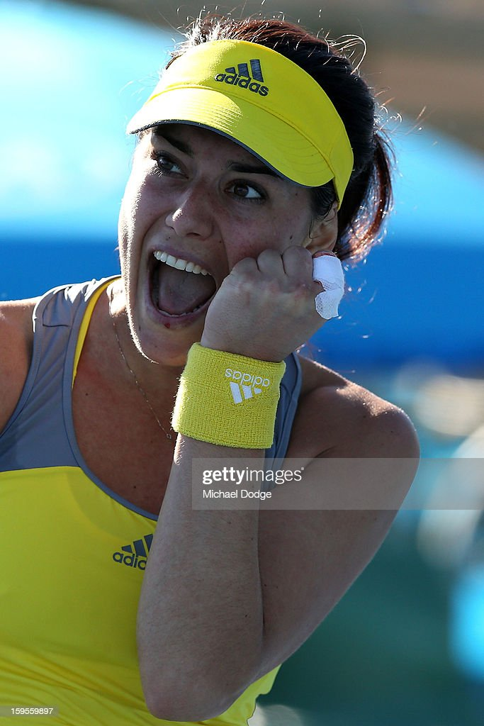 <a gi-track='captionPersonalityLinkClicked' href=/galleries/search?phrase=Sorana+Cirstea&family=editorial&specificpeople=4499606 ng-click='$event.stopPropagation()'>Sorana Cirstea</a> of Romania celebrates in her second round match against Kristyna Pliskova of the Czech Republic during day three of the 2013 Australian Open at Melbourne Park on January 16, 2013 in Melbourne, Australia.