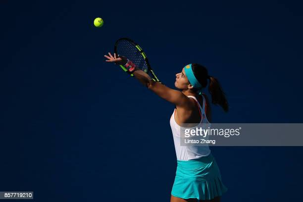 Sorana Cirstea of Romania in action against Karolina Pliskova of the Czech Repubic during the Women's singles 3rd round on day six of 2017 China Open...