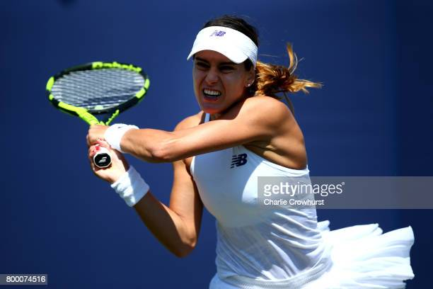 Sorana Cirstea of Romania in action during her women's qualifying match against Liu Fangzhou of China during qualifying on day one of the Aegon...