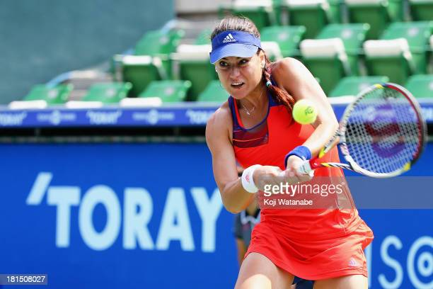 Sorana Cirstea of Romania in action during her women's singles first round match against Julia Goerges on during day one of the Toray Pan Pacific...