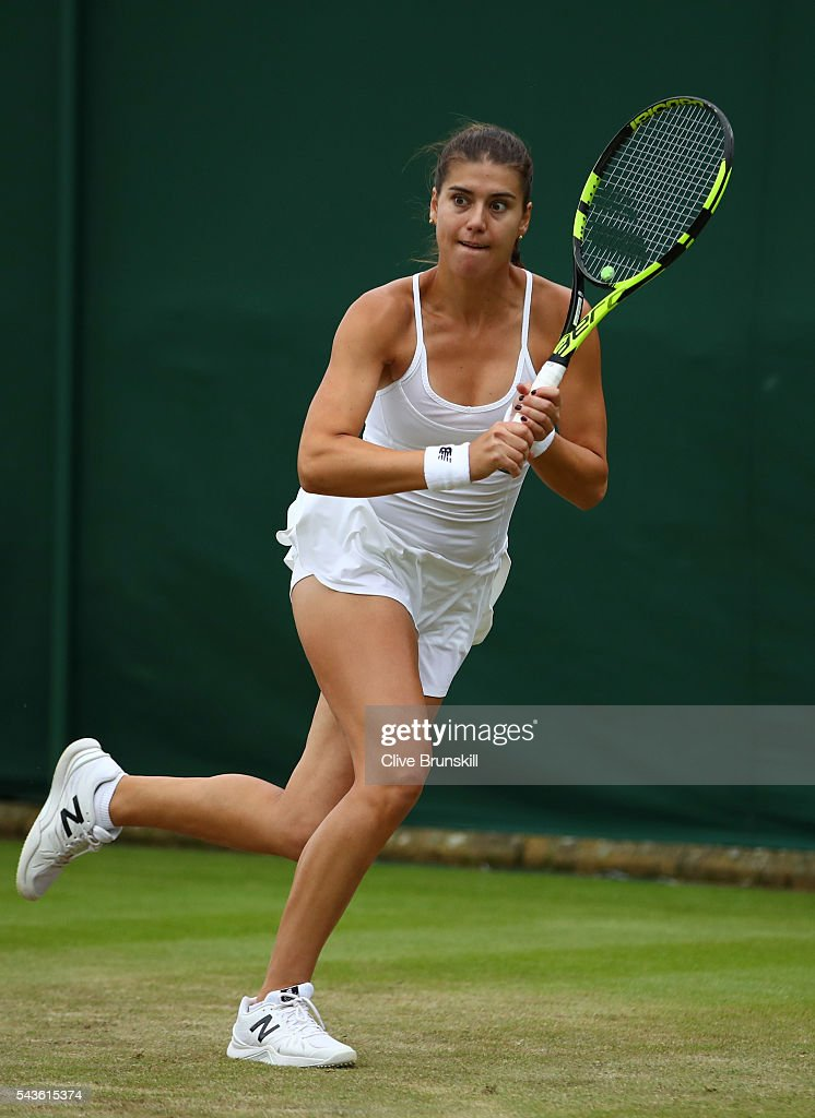 <a gi-track='captionPersonalityLinkClicked' href=/galleries/search?phrase=Sorana+Cirstea&family=editorial&specificpeople=4499606 ng-click='$event.stopPropagation()'>Sorana Cirstea</a> of Romania in action during the Ladies Singles second round match against Petra Kvitova of The Czech Republic on day three of the Wimbledon Lawn Tennis Championships at the All England Lawn Tennis and Croquet Club on June 29, 2016 in London, England.