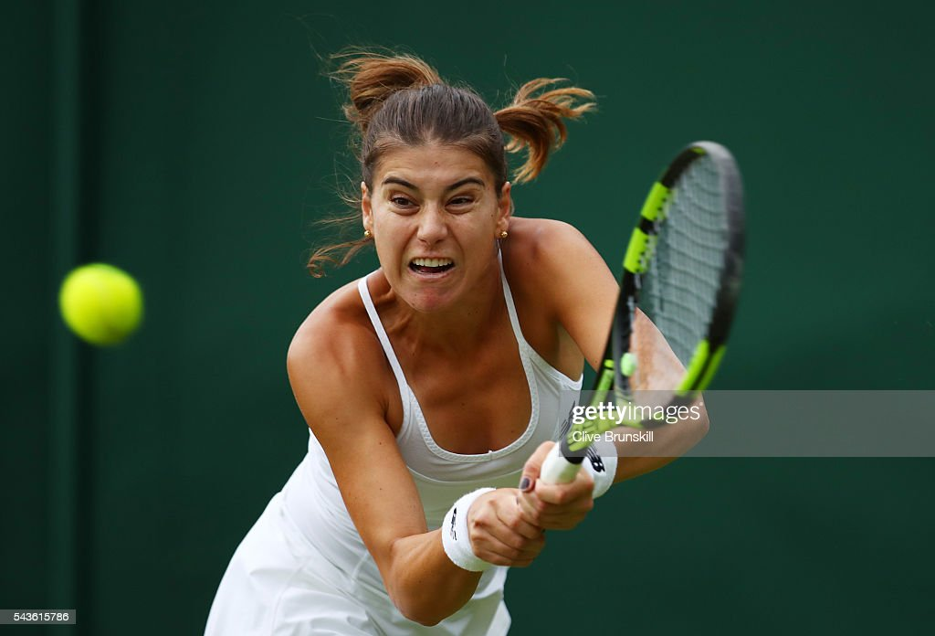 <a gi-track='captionPersonalityLinkClicked' href=/galleries/search?phrase=Sorana+Cirstea&family=editorial&specificpeople=4499606 ng-click='$event.stopPropagation()'>Sorana Cirstea</a> of Romania plays a backhand during the Ladies Singles second round match against Petra Kvitova of The Czech Republic on day three of the Wimbledon Lawn Tennis Championships at the All England Lawn Tennis and Croquet Club on June 29, 2016 in London, England.