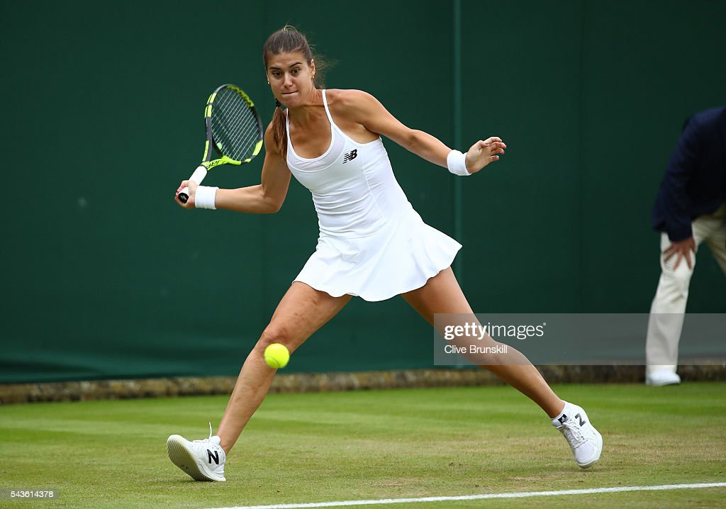 <a gi-track='captionPersonalityLinkClicked' href=/galleries/search?phrase=Sorana+Cirstea&family=editorial&specificpeople=4499606 ng-click='$event.stopPropagation()'>Sorana Cirstea</a> of Romania plays a forehand during the Ladies Singles second round match against Petra Kvitova of The Czech Republic on day three of the Wimbledon Lawn Tennis Championships at the All England Lawn Tennis and Croquet Club on June 29, 2016 in London, England.