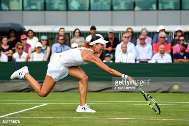 Sorana Cirstea of Romania plays a forehand during the Ladies Singles second round match against Bethanie MattekSands of The United States on day four...