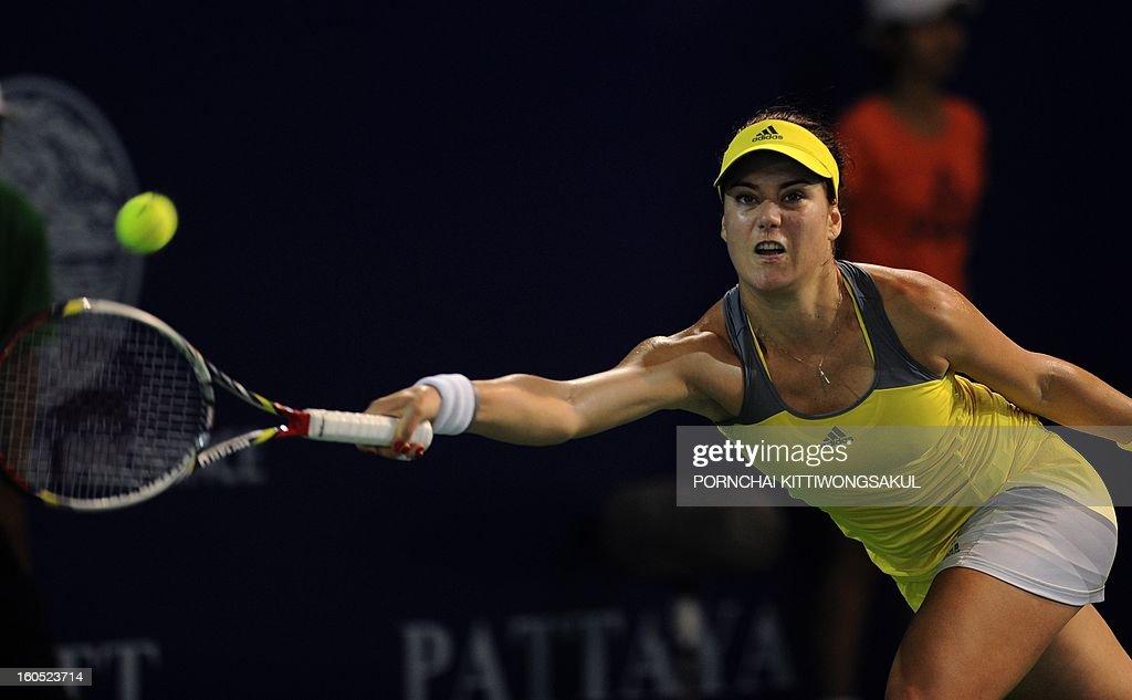 Sorana Cirstea of Romania plays a shot against Maria Kirilenko of Russia during the tennis women's singles semi-final round of the WTA Pattaya Open tennis tournament in Pattaya resort on February 2, 2013.