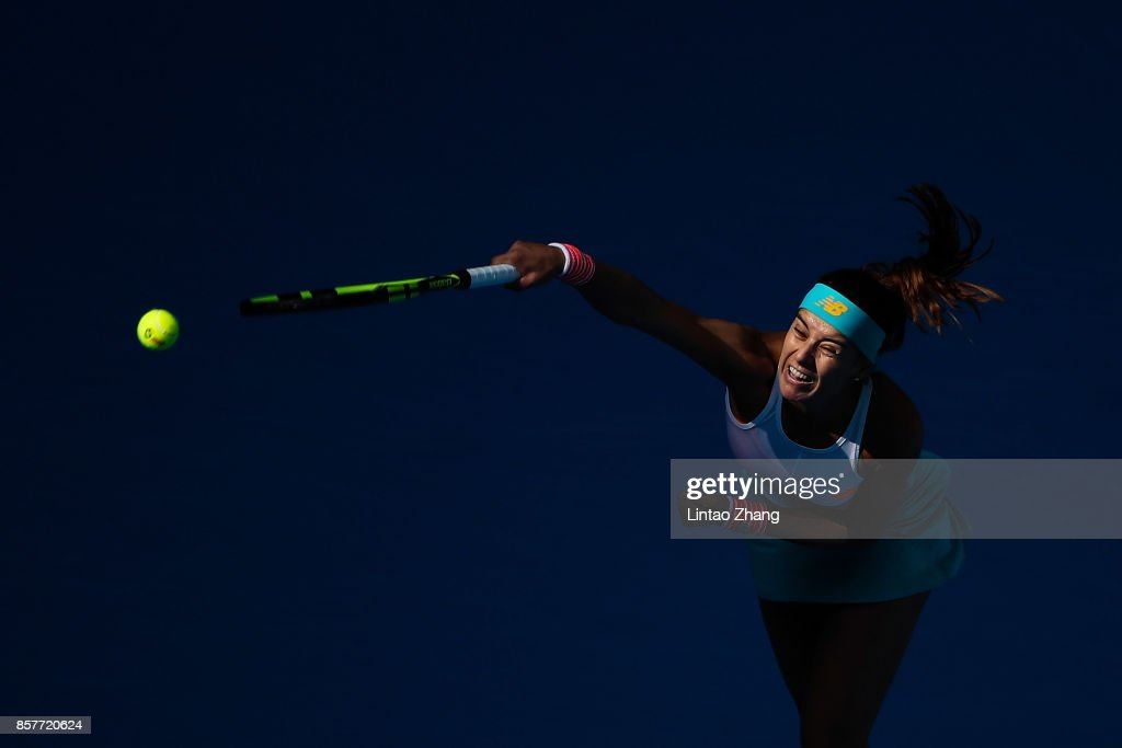 Sorana Cirstea of Romania returns a shot against Karolina Pliskova of the Czech Repubic during the Women's singles 3rd round on day six of 2017 China Open at the China National Tennis Centre on October 5, 2017 in Beijing, China.