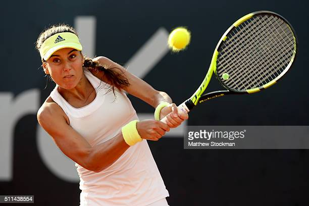 Sorana Cirstea of Romania returns a shot to Shelby Rogers of the Unites States during the Rio Open at Jockey Club Brasileiro on February 20 2016 in...