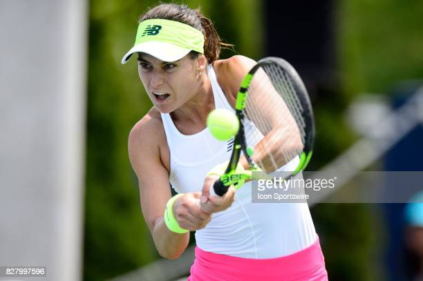 Sorana Cirstea of Romania returns the ball during her first round match of the 2017 Rogers Cup tennis tournament on August 8 at Aviva Centre in...