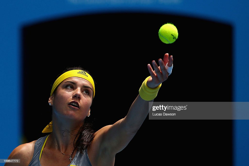 <a gi-track='captionPersonalityLinkClicked' href=/galleries/search?phrase=Sorana+Cirstea&family=editorial&specificpeople=4499606 ng-click='$event.stopPropagation()'>Sorana Cirstea</a> of Romania serves in her third round match against Na Li of China during day five of the 2013 Australian Open at Melbourne Park on January 18, 2013 in Melbourne, Australia.