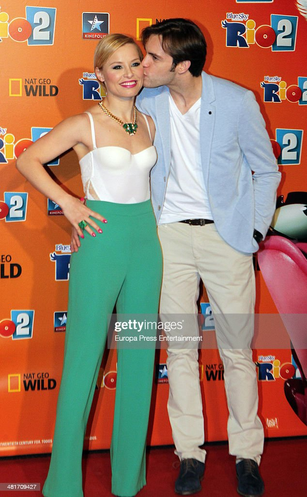 Soraya Arnelas and Miguel Herrera attend 'Rio 2' premiere on March 28 2014 in Madrid Spain