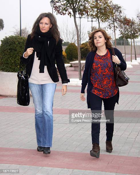 Soraya Saenz de Santamaria attends the funeral chapel for Ramon Rato at Tres Cantos Chapel on January 15 2012 in Madrid Spain Ramon Rato is brother...