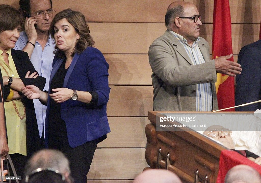 Soraya Saenz de Santamaria attends the funeral for former Communist Party leader Santiago Carrillo September 19 2012 in Madrid Spain Carrillo who...