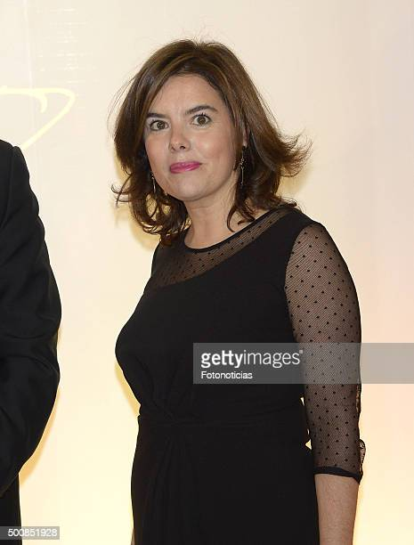 Soraya Saenz de Santamaria attends the 'Mariano de Cavia' 'Luca de Tena' and 'Mingote' Journalism Awards Dinner at Casa de ABC on December 10 2015 in...