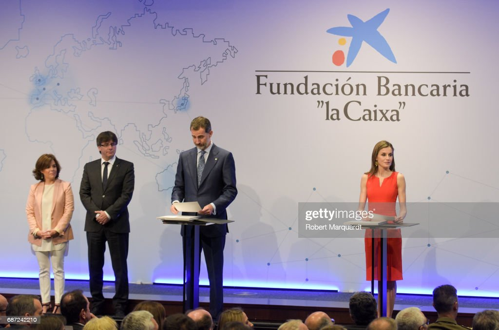 Soraya Saenz de Santamaria, Carles Puigdemont, King Felipe VI of Spain and Queen Letizia of Spain attend the 'La Caixa' Scholarships held at the headquarters for La Caixa on May 23, 2017 in Barcelona, Spain.