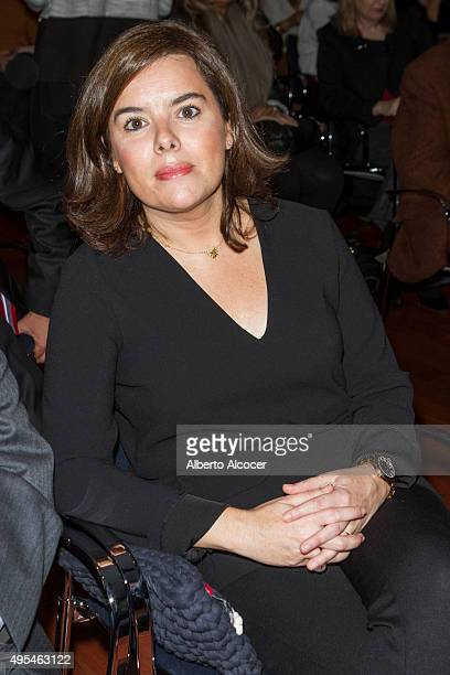 Soraya Saenz De Santamaria poses attends to Planeta Award 2015 Winners Press Conference at Instituto Cervantes on November 3 2015 in Madrid Spain