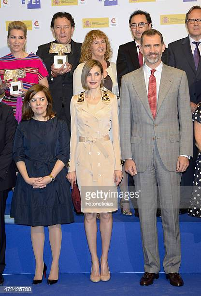 Soraya Saenz de Santamaria Queen Letizia of Spain and King Felipe of Spain pose for a group picture during the 'Rey de Espana' and 'Don Quijote'...