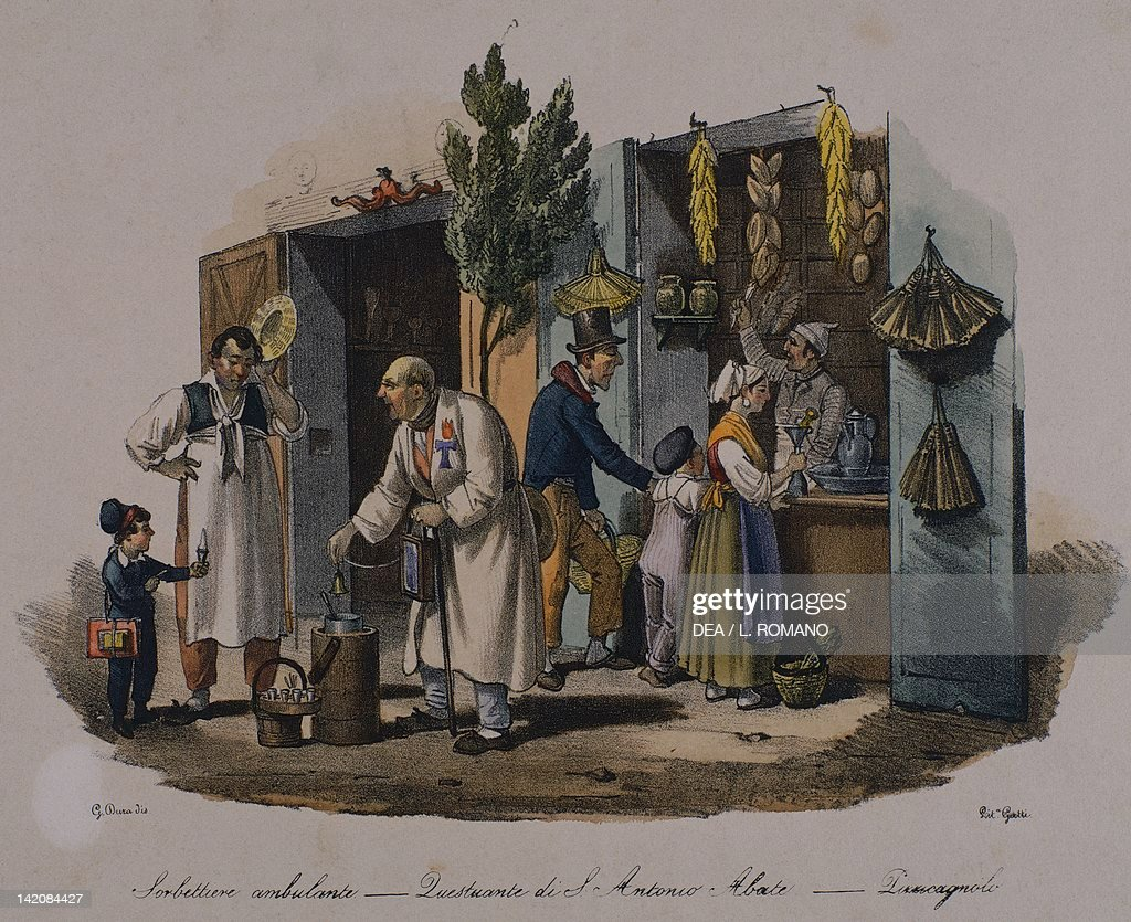 Sorbet maker and beggar at Sant'Antonio Abate lithograph Italy 19th century
