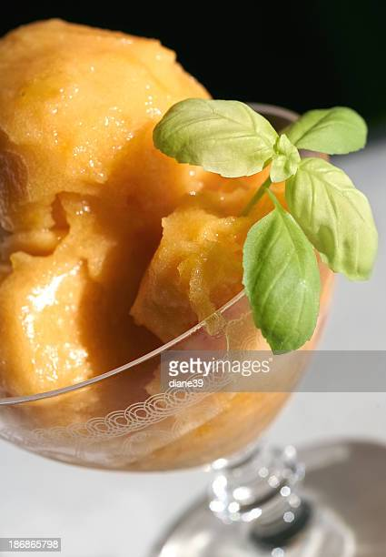 sorbet with basil leaf