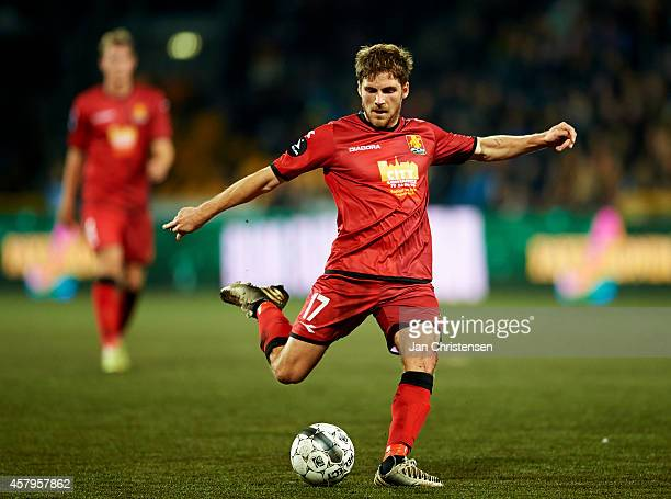 Soren Christensen of FC Nordsjalland controls the ball during the Danish Superliga match between FC Nordsjalland and AaB Aalborg at Farum Park on...