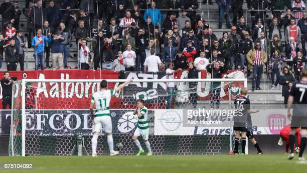 Soren Frederiksen of Viborg FF looks dejected during the Danish Alka Superliga match between Viborg FF and AaB Aalborg at Energi Viborg Arena on...