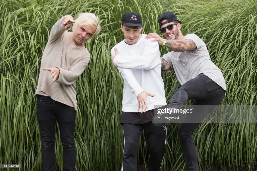 Soren Hansen, David Boyd and Louis Vecchio of New Politics poses for a photo backstage during the Summer Camp Music Festival hosted by 107.7 The End at Marymoor Park on August 13, 2017 in Redmond, Washington.