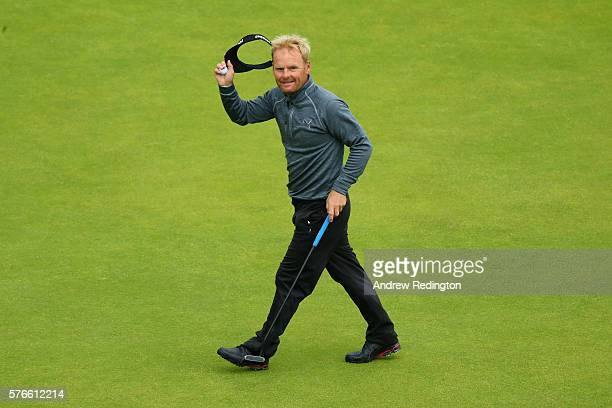 Soren Kjeldsen of Denmark acknowledges the crowd on the 18th green during the third round on day three of the 145th Open Championship at Royal Troon...