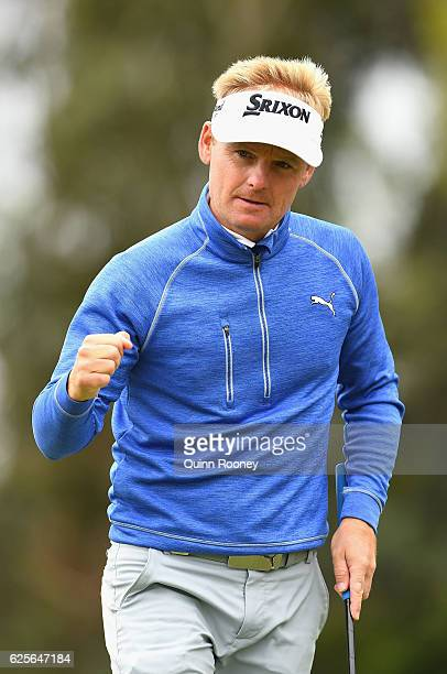 Soren Kjeldsen of Denmark celebrates a birdie during day two of the World Cup of Golf at Kingston Heath Golf Club on November 25 2016 in Melbourne...