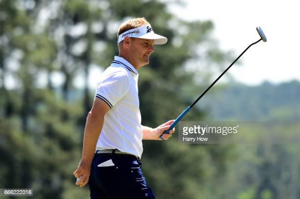 Soren Kjeldsen of Denmark celebrates his birdie on the first hole during the third round of the 2017 Masters Tournament at Augusta National Golf Club...