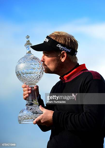Soren Kjeldsen of Denmark celebrates winning the Dubai Duty Free Irish Open hosted by the Rory Foundation at Royal County Down Golf Club on May 31...
