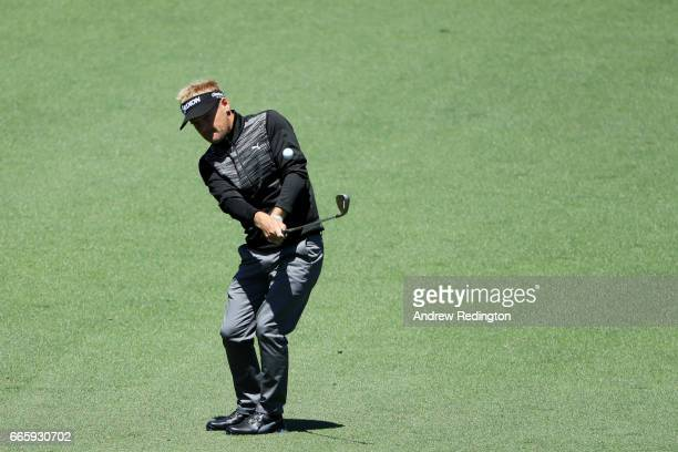 Soren Kjeldsen of Denmark chips to the second green during the second round of the 2017 Masters Tournament at Augusta National Golf Club on April 7...