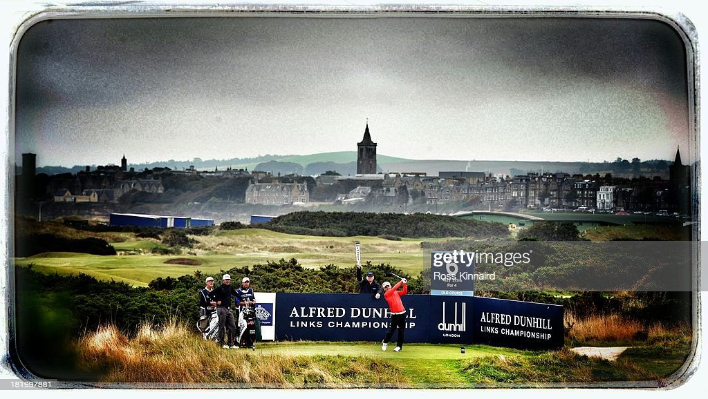<a gi-track='captionPersonalityLinkClicked' href=/galleries/search?phrase=Soren+Kjeldsen&family=editorial&specificpeople=242923 ng-click='$event.stopPropagation()'>Soren Kjeldsen</a> of Denmark drives off the sixth tee during the second round of the Alfred Dunhill Links Championship on The Old Course, at St Andrews on September 27, 2013 in St Andrews, Scotland.