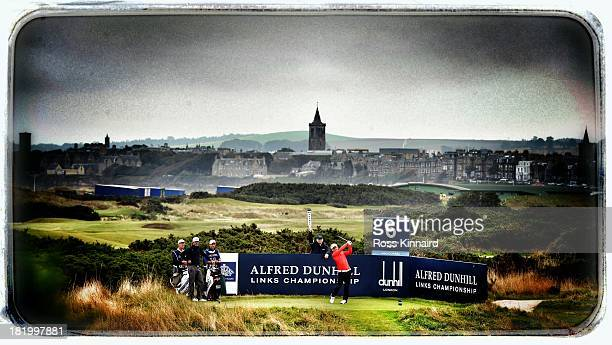 Soren Kjeldsen of Denmark drives off the sixth tee during the second round of the Alfred Dunhill Links Championship on The Old Course at St Andrews...
