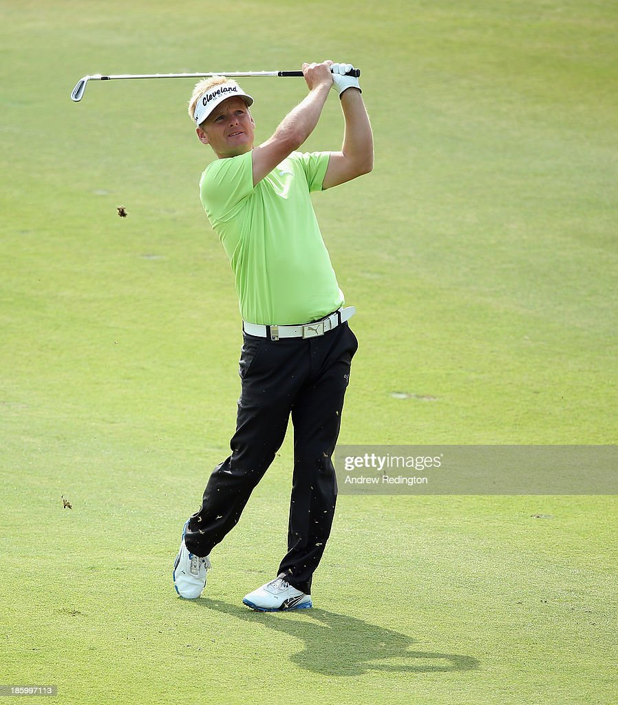 <a gi-track='captionPersonalityLinkClicked' href=/galleries/search?phrase=Soren+Kjeldsen&family=editorial&specificpeople=242923 ng-click='$event.stopPropagation()'>Soren Kjeldsen</a> of Denmark in action during the final round of the BMW Masters at Lake Malaren Golf Club on October 27, 2013 in Shanghai, China.