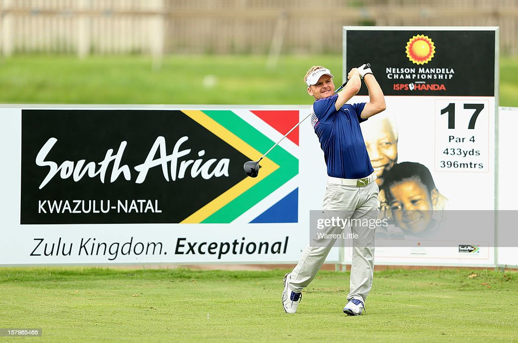 Soren Kjeldsen of Denmark in action during the first round of The Nelson Mandela Championship presented by ISPS Handa at Royal Durban Golf Club on December 8, 2012 in Durban, South Africa.