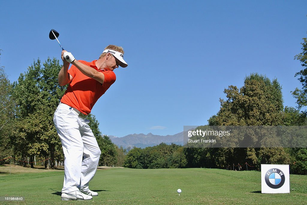 Soren Kjeldsen of Denmark plays a shot during the second round of the BMW Italian open at Royal Park Golf & Country Club on September 14, 2012 in Turin, Italy.