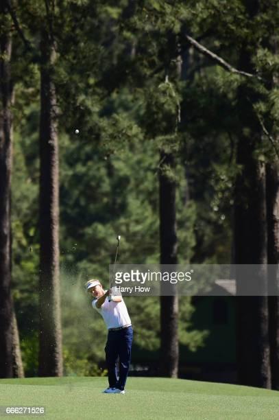 Soren Kjeldsen of Denmark plays a shot during the third round of the 2017 Masters Tournament at Augusta National Golf Club on April 8 2017 in Augusta...