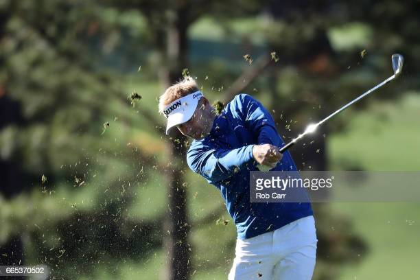 Soren Kjeldsen of Denmark plays a shot from the first fairway during the first round of the 2017 Masters Tournament at Augusta National Golf Club on...