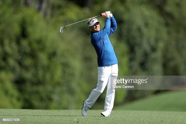Soren Kjeldsen of Denmark plays a shot on the fifth hole during the first round of the 2017 Masters Tournament at Augusta National Golf Club on April...