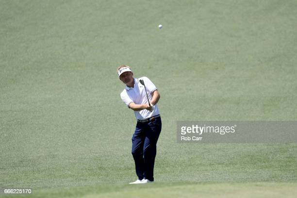Soren Kjeldsen of Denmark plays a shot on the second hole during the third round of the 2017 Masters Tournament at Augusta National Golf Club on...