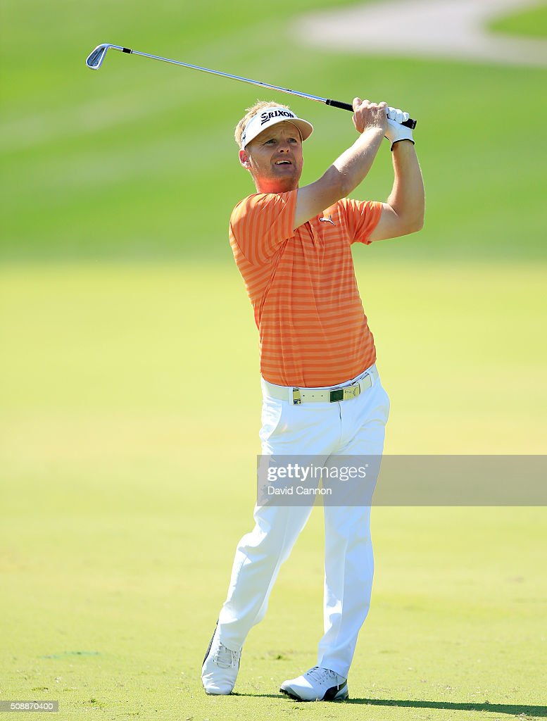 <a gi-track='captionPersonalityLinkClicked' href=/galleries/search?phrase=Soren+Kjeldsen&family=editorial&specificpeople=242923 ng-click='$event.stopPropagation()'>Soren Kjeldsen</a> of Denmark plays his second shot at the par 4, first hole during the final round of the 2016 Omega Dubai Desert Classic on the Majlis Course at the Emirates Golf Club on February 7, 2016 in Dubai, United Arab Emirates.