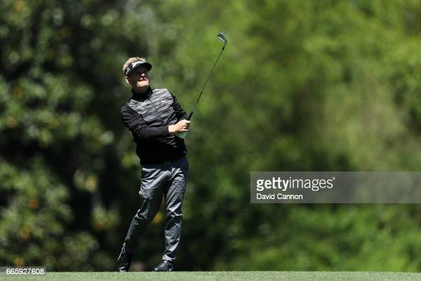 Soren Kjeldsen of Denmark plays his second shot on the fifth hole during the second round of the 2017 Masters Tournament at Augusta National Golf...