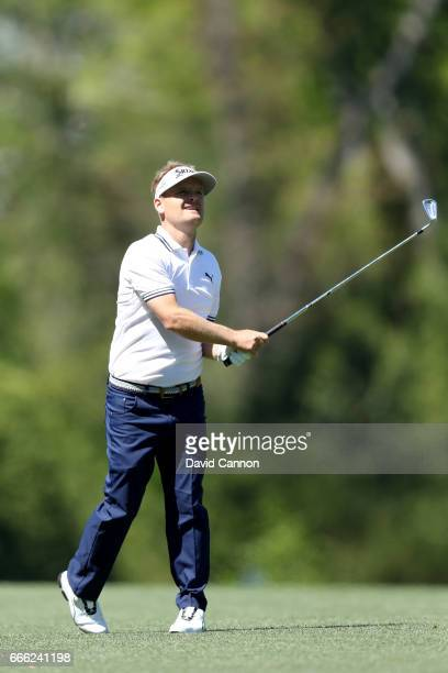 Soren Kjeldsen of Denmark plays his second shot on the fifth hole during the third round of the 2017 Masters Tournament at Augusta National Golf Club...