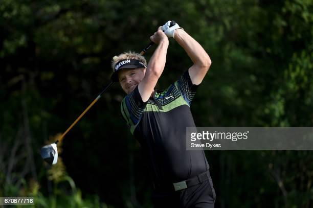 Soren Kjeldsen of Denmark plays his shot from the ninth tee during the first round of the Valero Texas Open at TPC San Antonio ATT Oaks Course on...